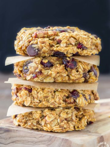These grab-n-go Pumpkin Oatmeal Breakfast Cookies are easy to make with good for you oats, pumpkin, a bit of chocolate, pecans and dried cranberries.  Make ahead for those times when you are in a hurry but want something healthy to fuel your day!