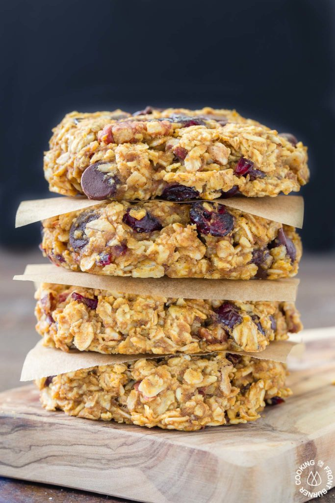 These grab-n-go Pumpkin Oat Breakfast Cookies are easy to make with good for you oats, pumpkin, a bit of chocolate, pecans and dried cranberries.  Make ahead for those times when you are in a hurry but want something healthy to fuel your day!