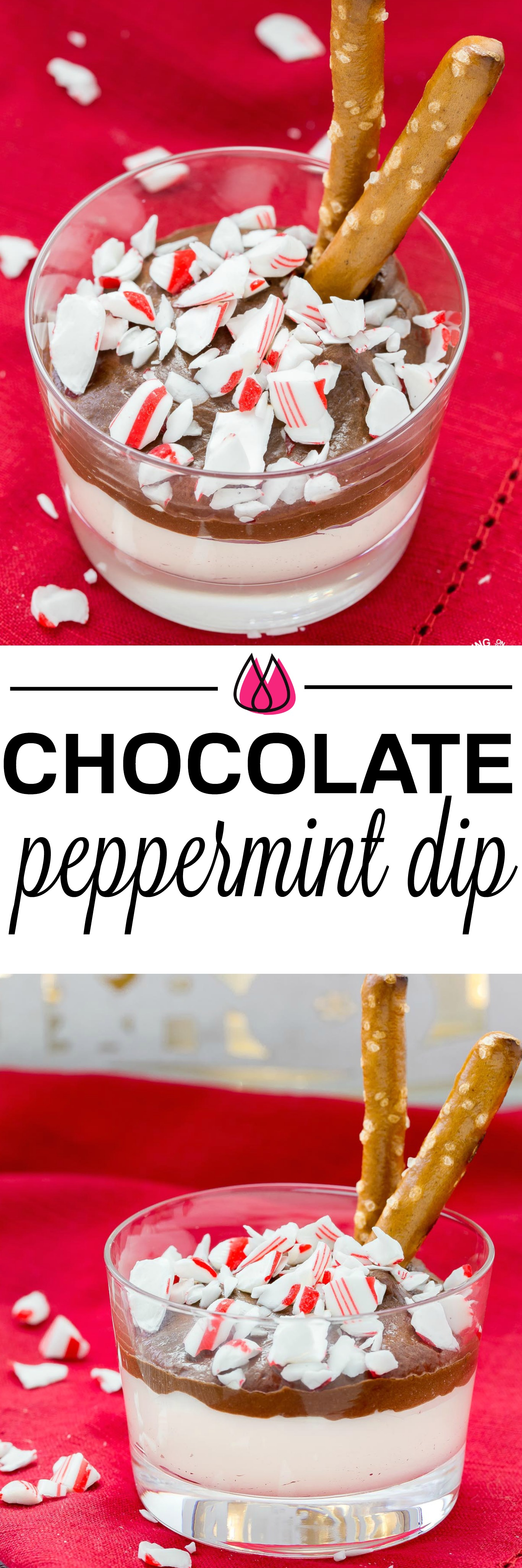 This holiday Chocolate Peppermint Dip is a great snack recipe to have on hand that everyone will love.  It has two kinds of chocolate, mint and salty pretzels for dippers that make a great combo to satisfy that sweet tooth! #peppermint #chocolate #dip