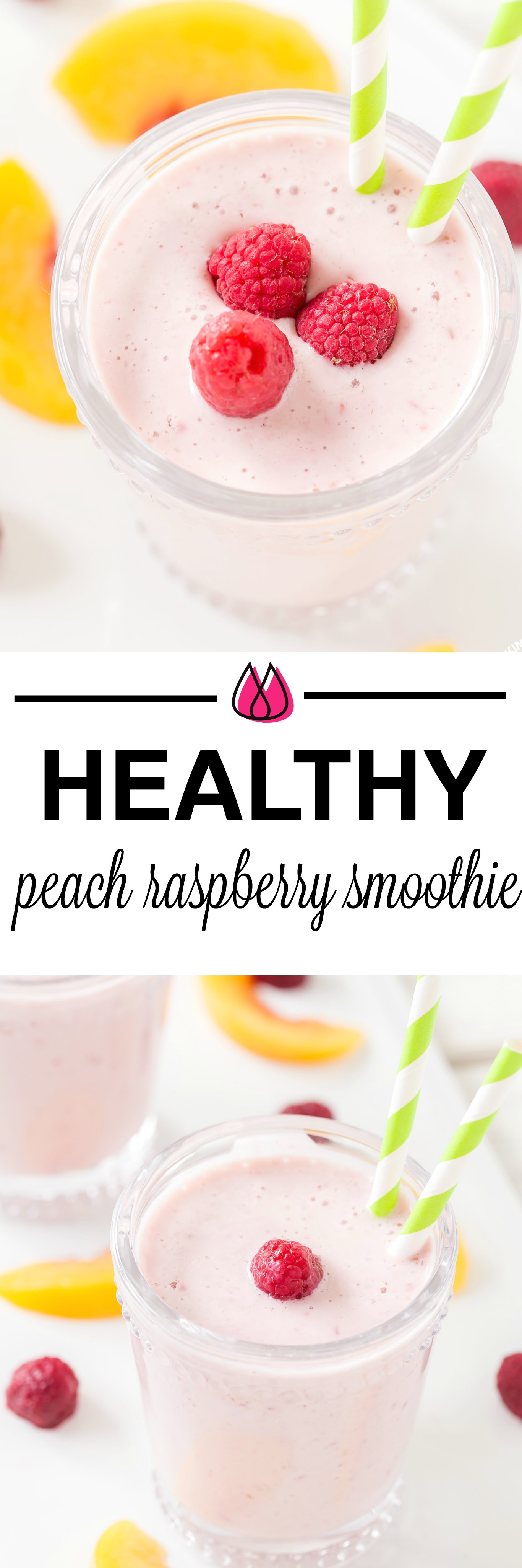 Making this Healthy Peach Raspberry Smoothie is easy to prepare and makes a delicious breakfast beverage or snack. It is so simple with frozen raspberries and peaches with yogurt, soy milk and a touch of honey. #smoothie # healthy #peachraspberry