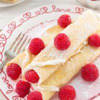 Raspberry Vanilla Cream Crepes