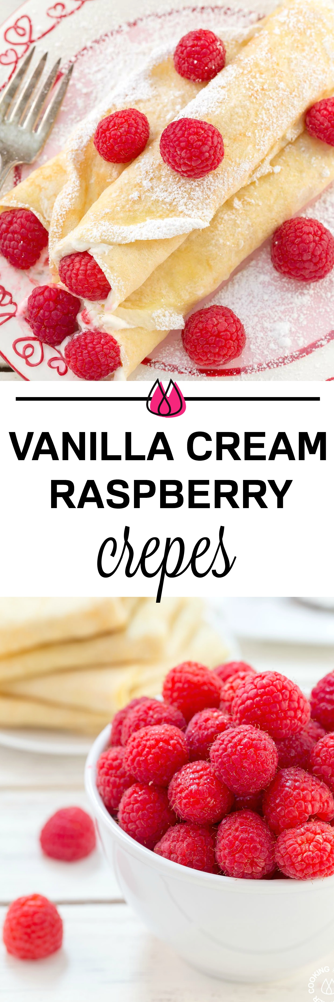 These Raspberry Vanilla Cream Crepes make the perfect dessert for Valentine's Day or any time you want to impress that someone special.  The crepes have a creamy vanilla filling and the fresh raspberries add a pop of color. #crepes #vanillacream #dessert #valentineday