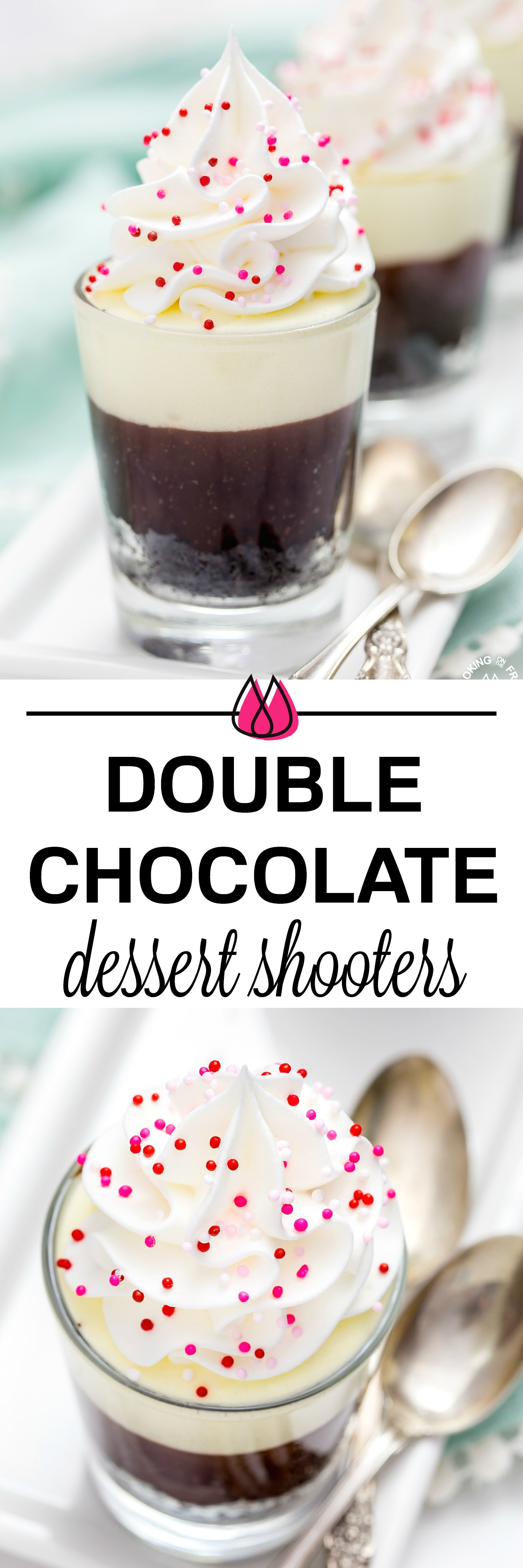 These no-bake Double Chocolate Mousse Shooters make the perfect mini dessert.  They have an chocolate crumb crust, a dark chocolate truffle layer then topped with a creamy white chocolate mousse.  You can even have more than one, I'll never tell! #chocolate #shooters #mousse