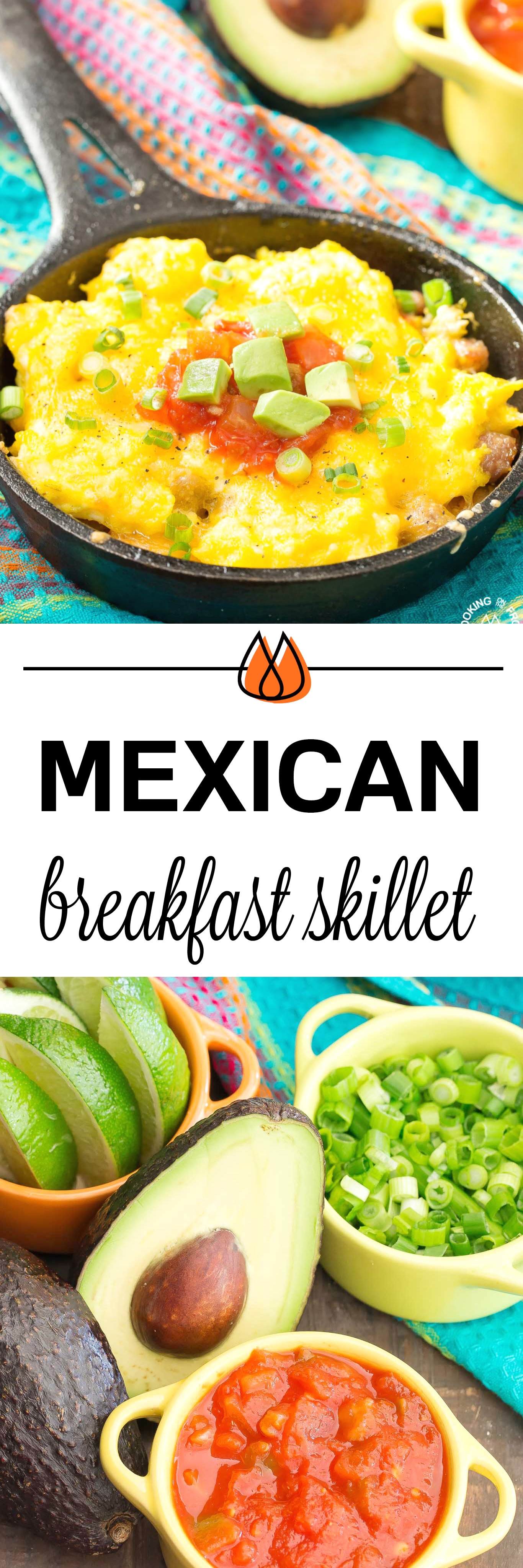You will love waking up to this Mexican Breakfast Skillet Pizza that will be your favorite meal of the day! The skillet is lined with crispy tator tots, lots of gooey cheese, sausage, eggs, green chilies and great toppings. #mexican #skillet #breakfastpizza