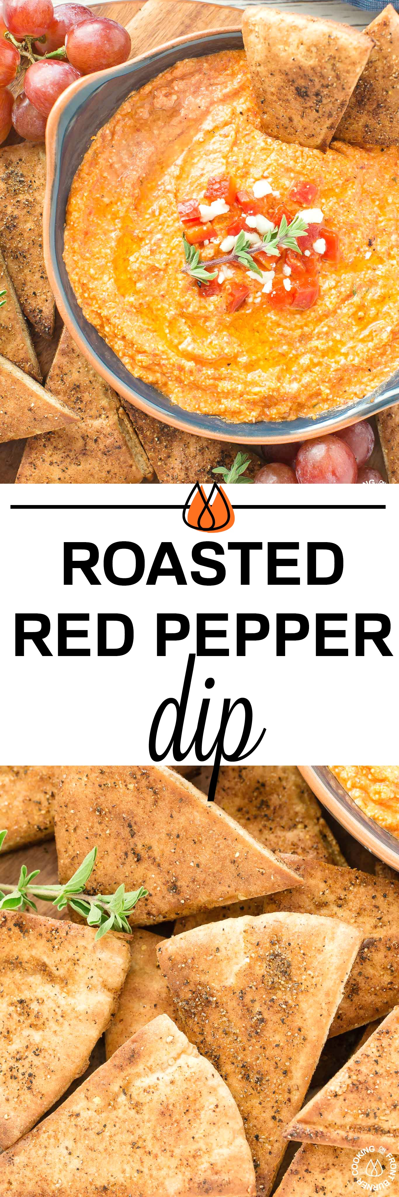This Roasted Red Pepper Dip is an easy as throwing all the ingredients in a food processor, giving it a 30 second whirl and on your table in no time.  The Mediterranean flavors are perfect with toasted pita bread that you can also season up and bake as dippers. #redpepperdip #appetizer