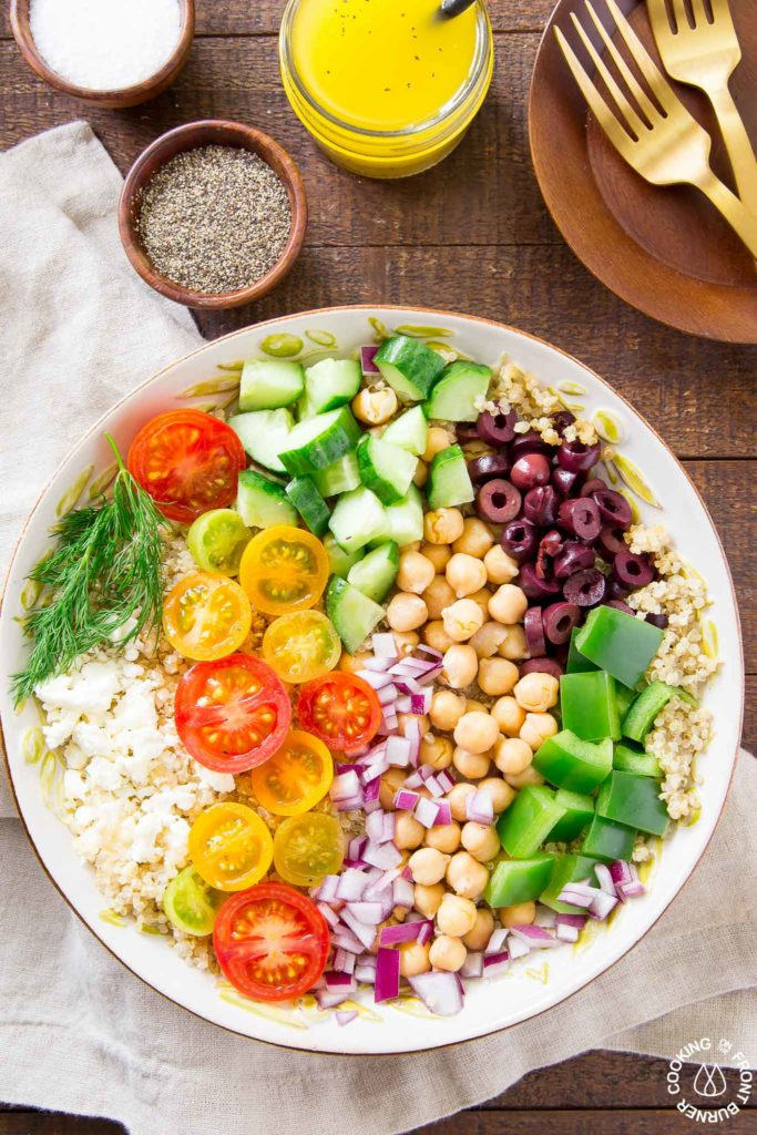 greek quinoa salad in a bowl