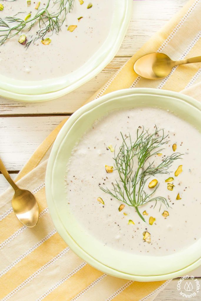 Fennel and cauliflower soup in a bowl