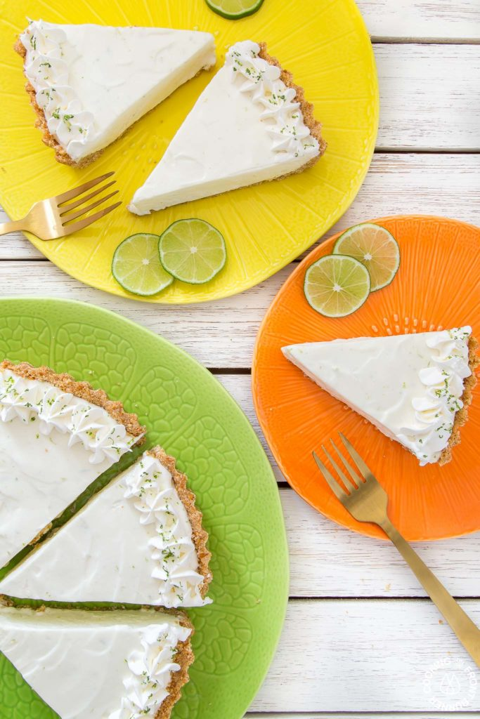 frozen margarita pie slices on plates