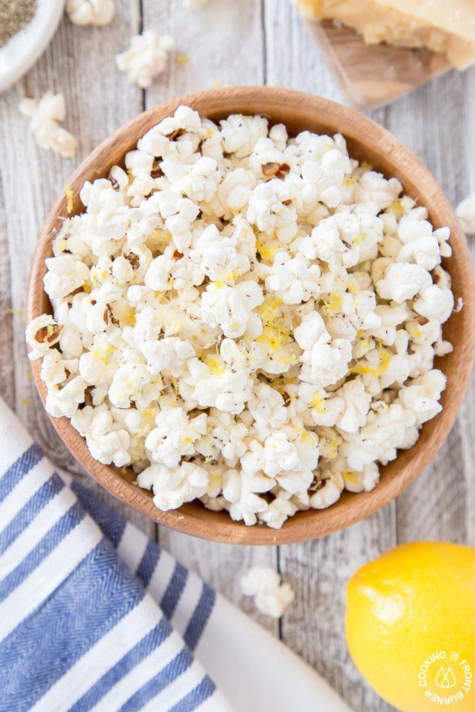 Lemon parmesan popcorn in a bowl