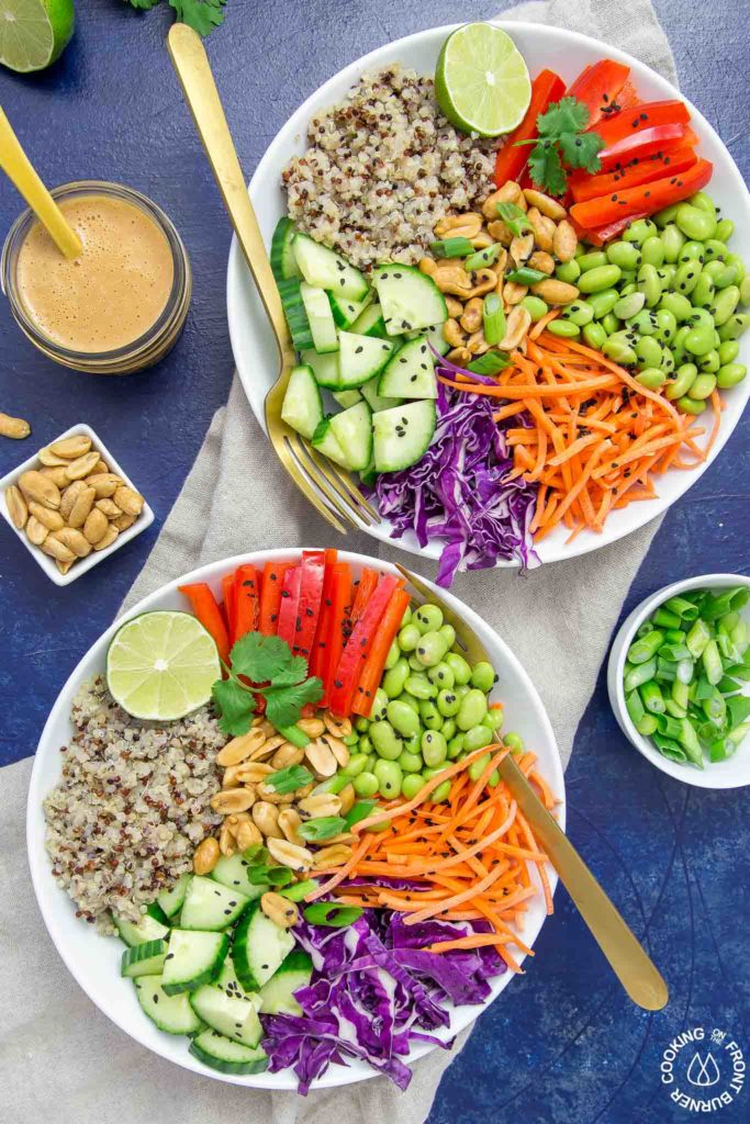 Asian Quinoa Bowl with Peanut dressing on the side
