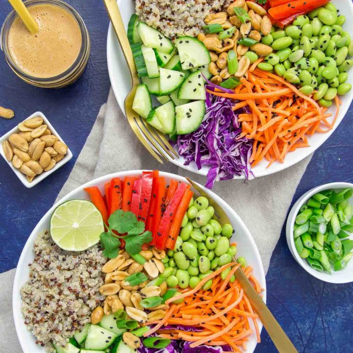This vibrant Asian Quinoa Bowl & Peanut Dressing is loaded with fresh ingredients and tossed with a ginger-garlic homemade peanut dressing.  You will love how easy it is to prepare and makes a great lunch, picnic or side dish.
