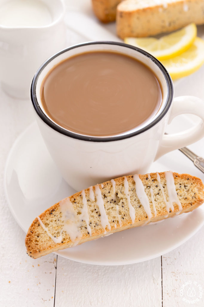 biscotti on a coffee saucer
