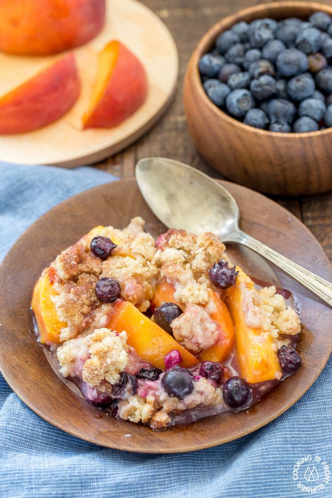 blueberry peach cobbler on a plate