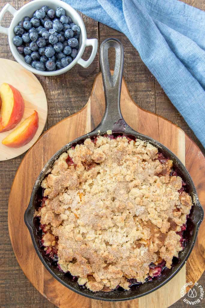 blueberry peach cobbler in a skillet