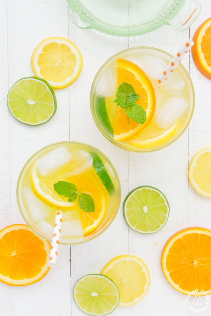 two glasses of citrus ice cooler drinks