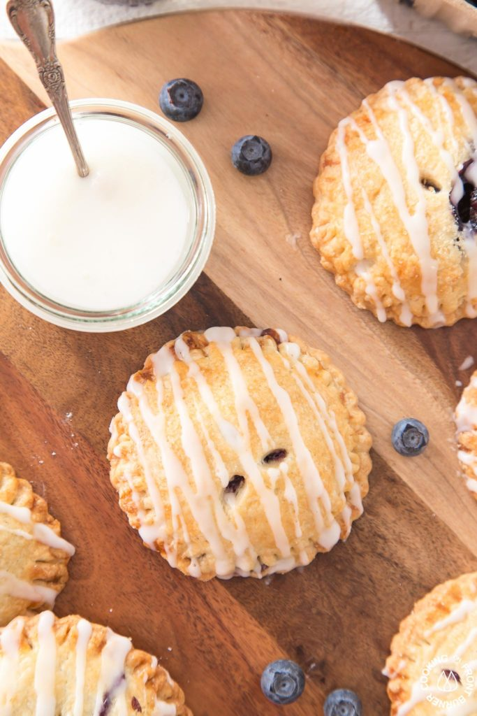 homemade Blueberry hand pie with glaze