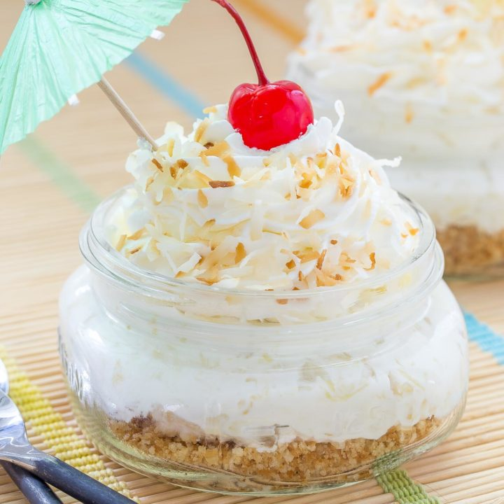 No Bake Pina Colada Jar Pies