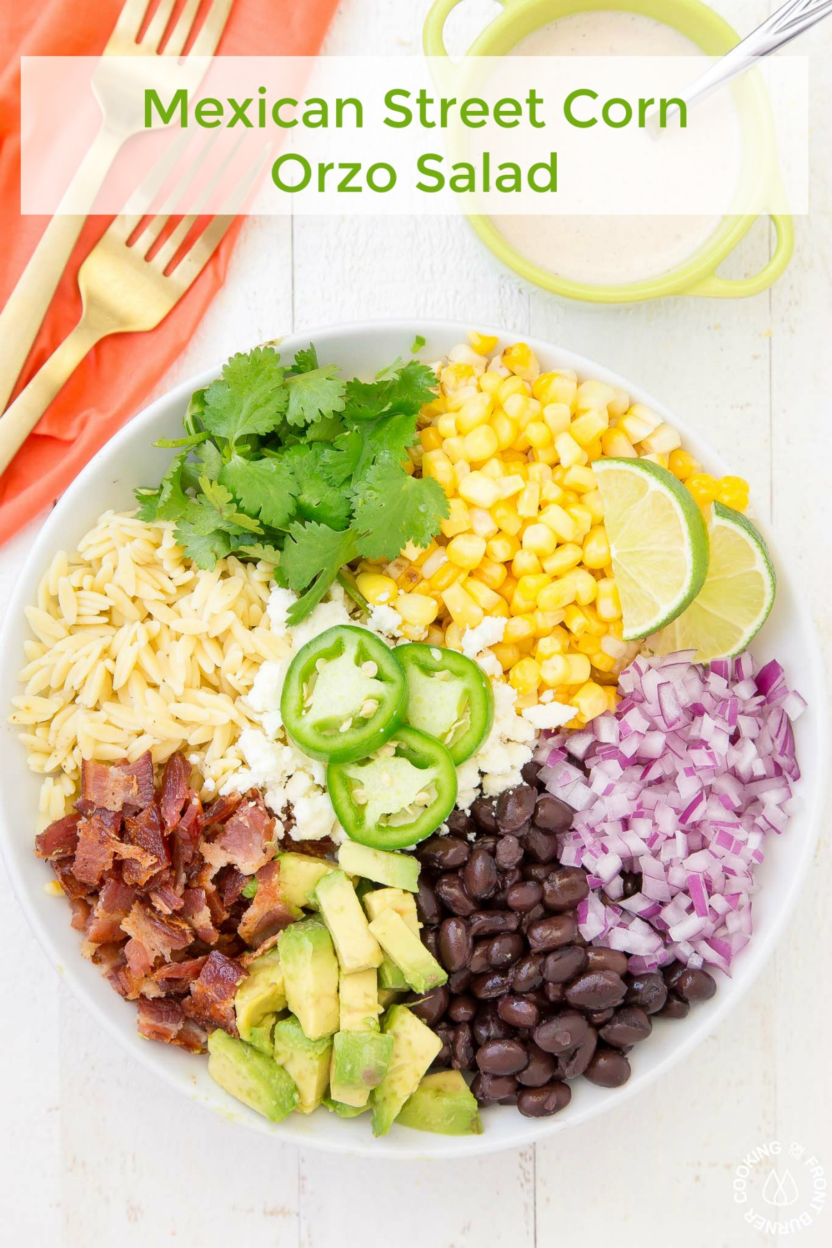 What could be simpler than having this go to Mexican Street Corn Orzo Salad recipe on hand when you want to enjoy a tasty and filling salad! This salad has it all - sweetness, savory, a bit spicy, fresh ingredients and bacon (oh ya, bacon!) #mexicanstreetcorn #salad #sidedish #mexican #corn #chililimedressing