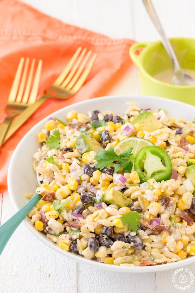 orzo mexican salad in a bowl