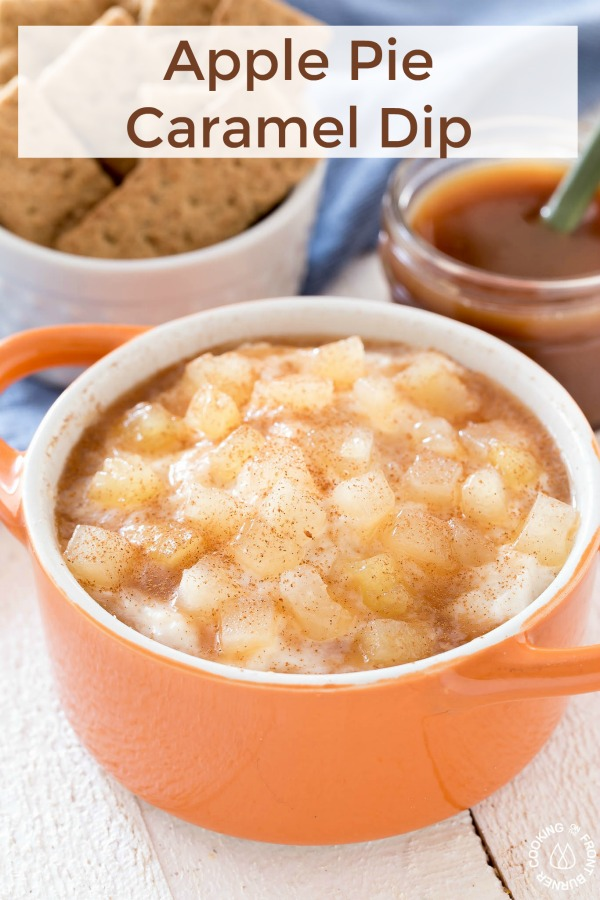 With only three ingredients you can whip up this easy Apple Pie Caramel Dip. It's perfect for fall as an afternoon snack for the kiddos or just anytime you want a tasty treat without the fuss. #dip #apple #caramel #snack #creamcheese