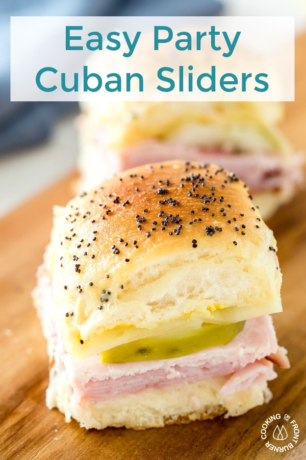 These Easy Party Cuban Sliders are loaded with ham, pork, swiss cheese, pickles and topped with a tangy Dijon mustard poppy seed spread. #gametimefood #party #sandwiches #sliders #gameday
