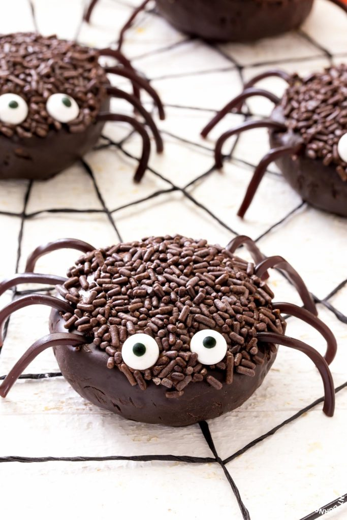 chocolate spiders on a web