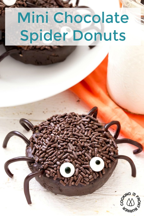 These Mini Chocolate Spider Donuts are sure to be a hit this Halloween! They are super easy to make with only five ingredients! #halloween #spiderdonuts #party #easy