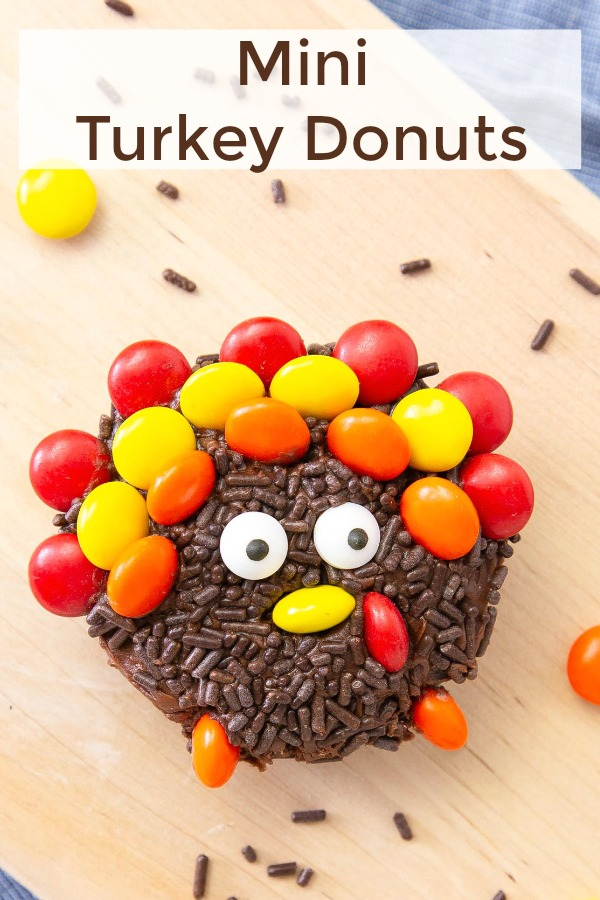 These semi-homemade Mini Turkey Donuts for Thanksgiving are so easy to make and even the kids can help!  They will have a blast creating their own version. #thanksgiving #dessert #mms #sprinkles #donut #easy