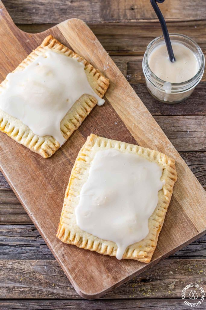 2 pumpkin pie pop tarts on a board