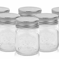 Golden Spoon Mason Jars, With Regular Lids, and Lids for Drinking, (Set of 6) (4 oz)