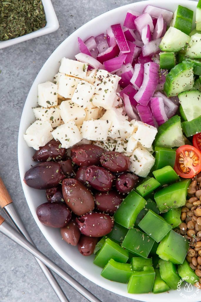 close up of greek salad in a bowl