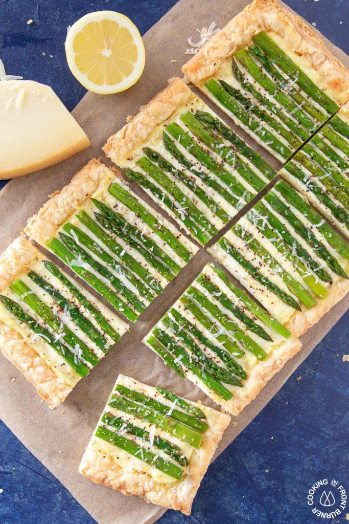 asparagus tart on a board