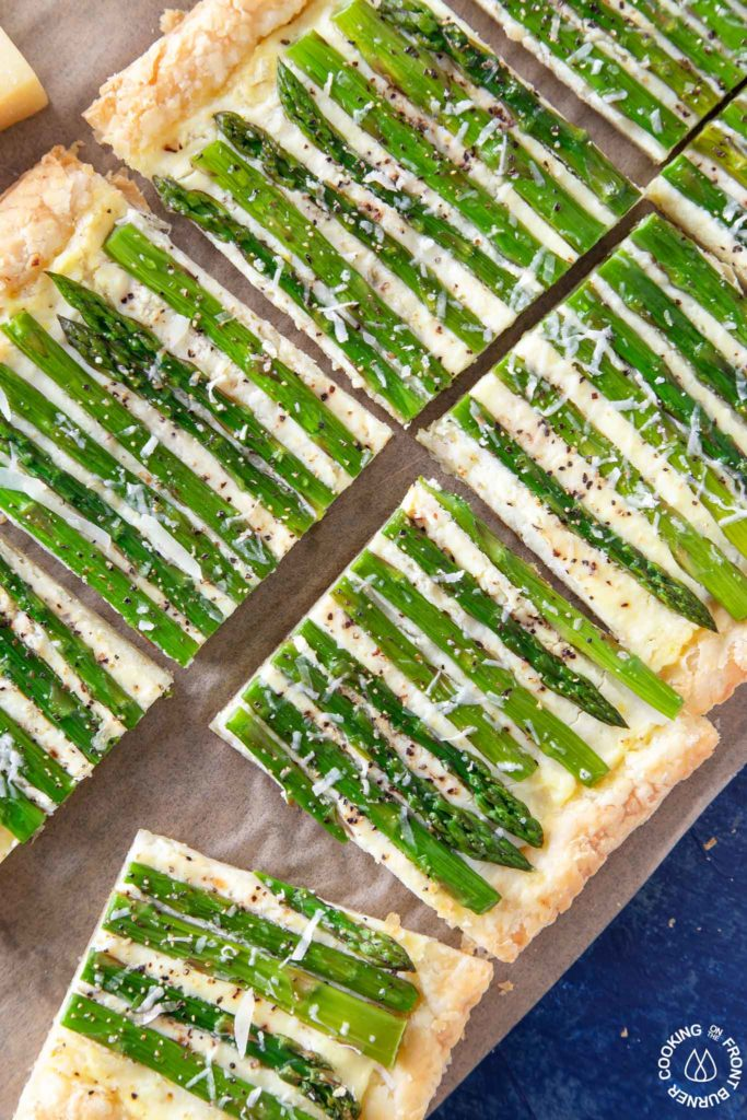 slices of asparagus tart