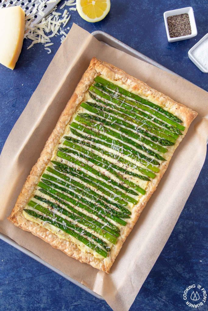 asparagus tart on a cookie sheet