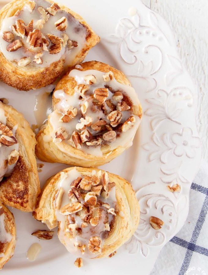 Puff pastry pumpkin spice rolls on a plate