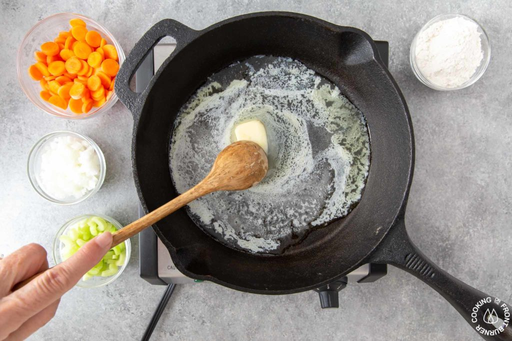 butter melting in a skillet