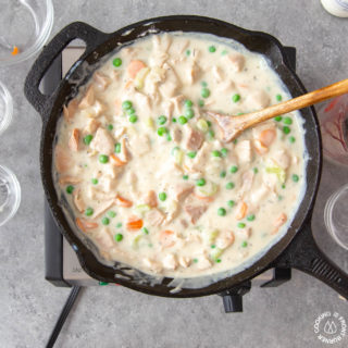 chicken pot pie mixture in a skillet