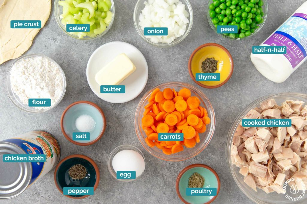 ingredients on a board for skillet chicken pot pie