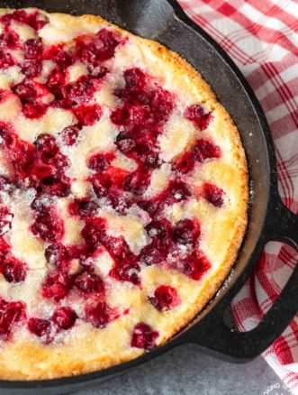 cranberry bread in a skillet