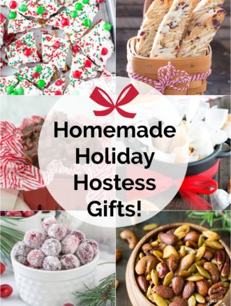 collage of holiday hostess gifts