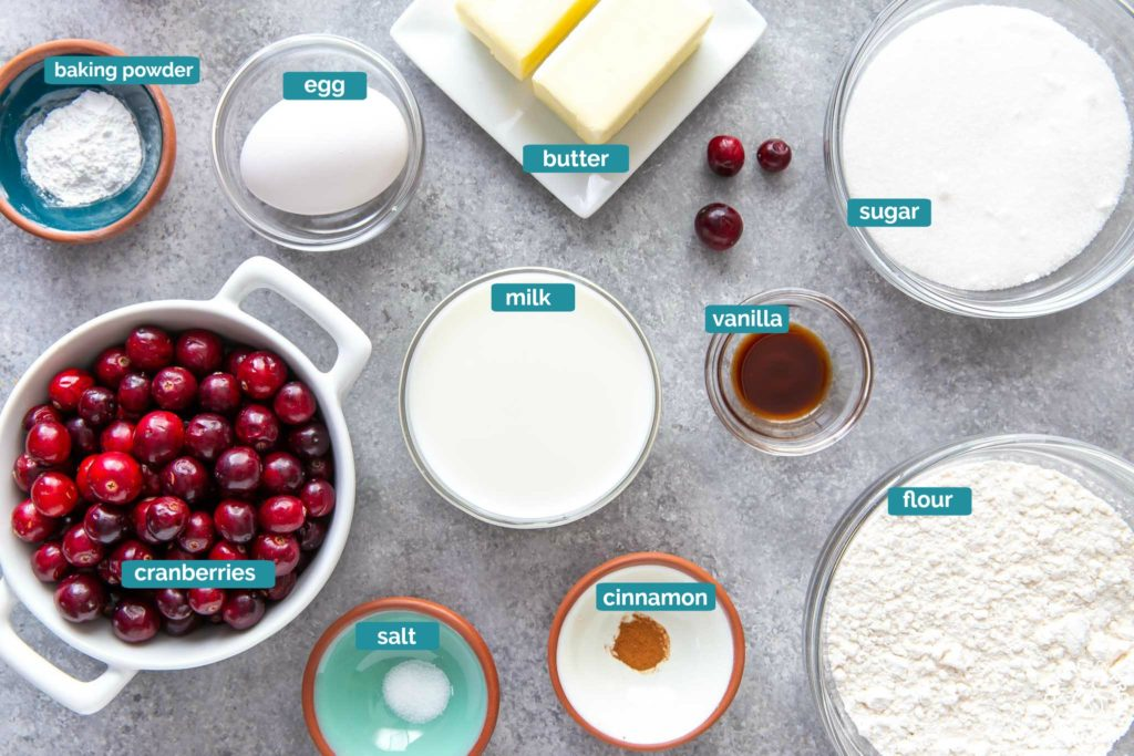 ingredients for making cranberry skillet bread