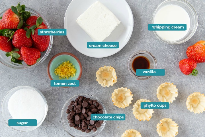 ingredients for cheesecake cups