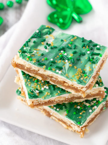 st patrick club cracker bars on a plate