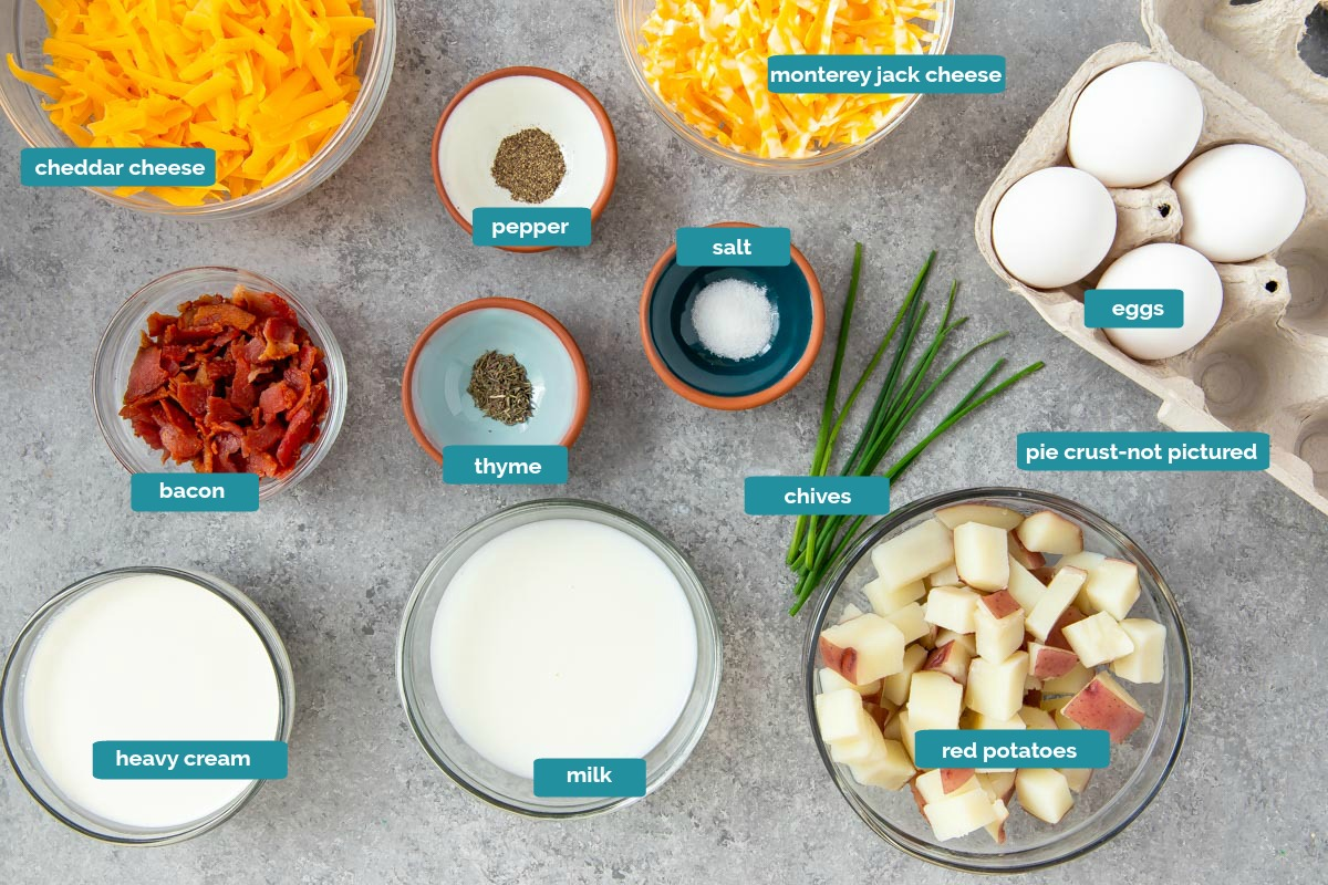 ingredients needed for loaded baked potato quiche