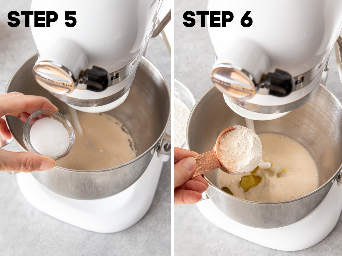 adding salt and flour into a mixing bowl for making bread