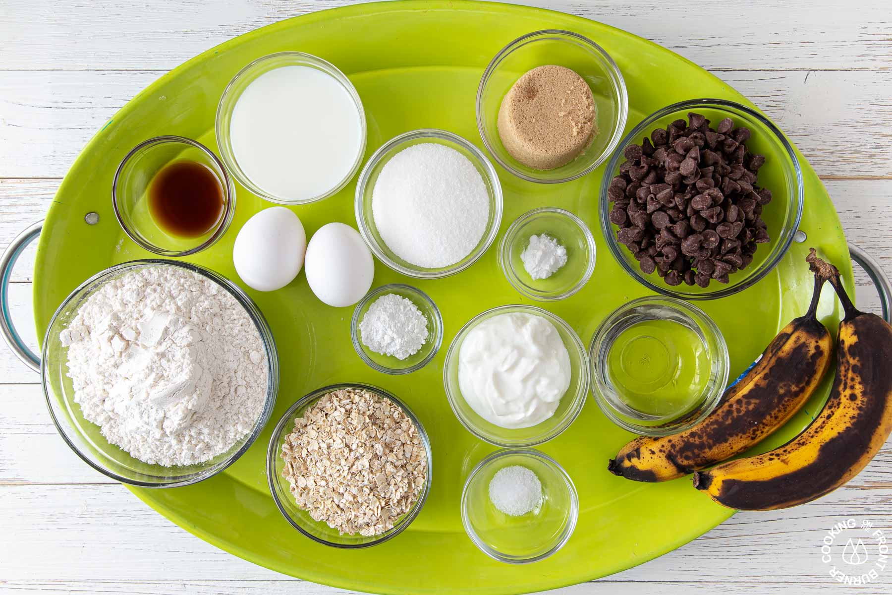 a tray with ingredients needed for banana bread