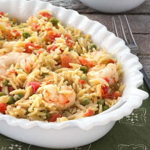 Lemon Orzo Shrimp Bake