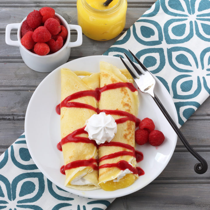 Lemon and Raspberry Crepes