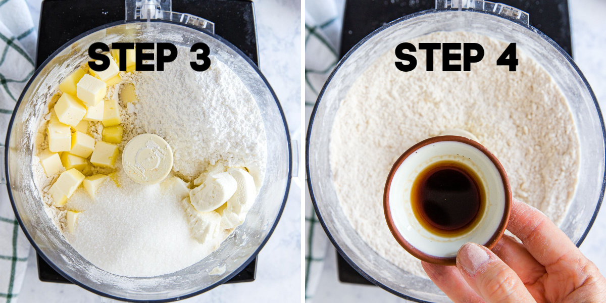 butter, cream cheese and vanilla extract in a food processor