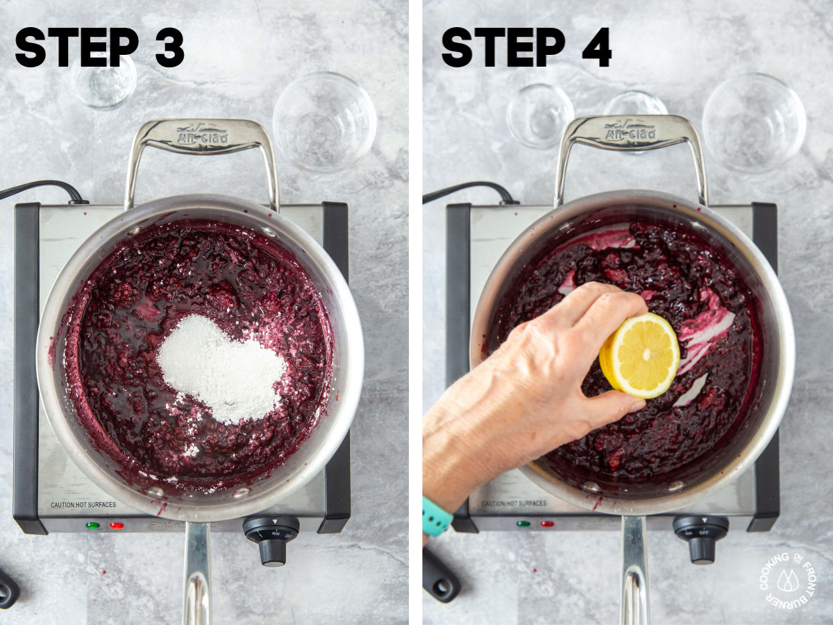 a medium saucepan on a burner with cooked blackberries in it and adding sugar, cornstarch, salt and lemon juice